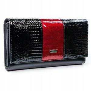 Cavaldi čierno-červená dámska kroko peňaženka koža / PU v darčekovej krabičke