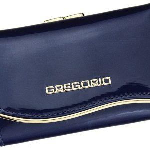Gregorio modrá lakovaná malá dámska kožená peňaženka v darčekovej krabičke