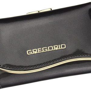 Gregorio šedá lakovaná malá dámska kožená peňaženka v darčekovej krabičke ZLF-117