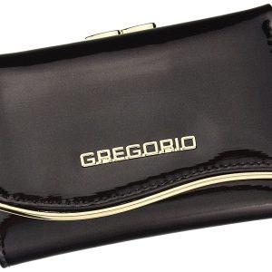 Gregorio tmavo hnedá lakovaná malá dámska kožená peňaženka v darčekovej krabičke