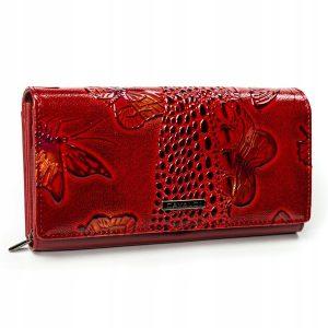 Cavaldi červená dámska hrubá peňaženka koža/PU s motýle v darčekovej krabičke
