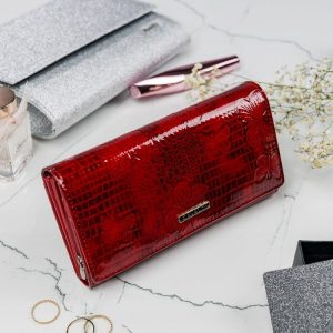 Cavaldi červená dámska lakovaná peňaženka koža/PU s motýle v darčekovej krabičke