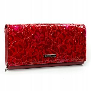 Cavaldi červená dámska peňaženka koža/PU s motýle v darčekovej krabičke