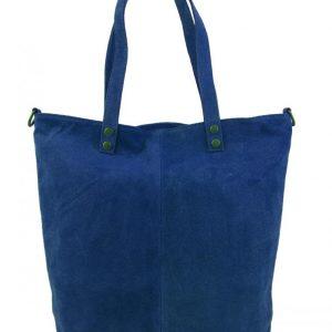 Kožená veľká modrá brúsená praktická dámska kabelka