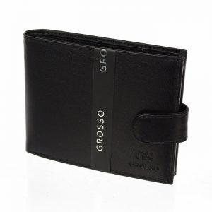 Kožená pánska peňaženka čierna RFID so zápinkou v krabičke