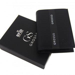 GROSSO Kožená pánska peňaženka čierna RFID v krabičke