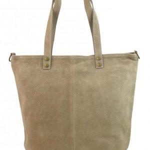 Kožená veľká pieskovo hnedá brúsená praktická dámska kabelka
