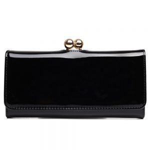 Módna dámska peňaženka čierna lakovaná Miss Lulu