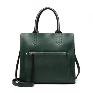 Zelená dámska elegantná kabelka Miss Lulu s čelným vreckom