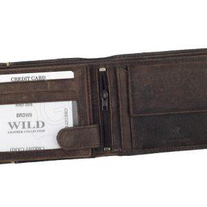 Hnedá pánska kožená brúsená peňaženka v krabičke WILD