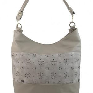 Kombinovaná dámska kabelka so vzorom stredne sivá