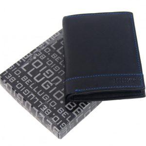 Bellugio čierno-modrá pánska kožená peňaženka v darčekovej krabičke
