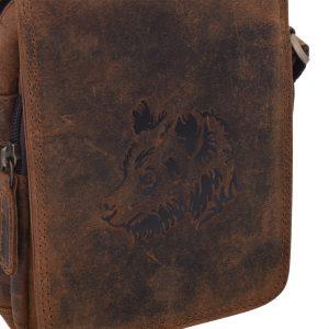 Pánske kožené crossbody tmavohnedý hunter vzor medveď