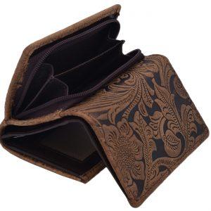 Peňaženka dámska vzor tmavohnedá