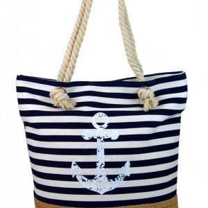 Čierno-biela ľahká plážová taška s kotvou