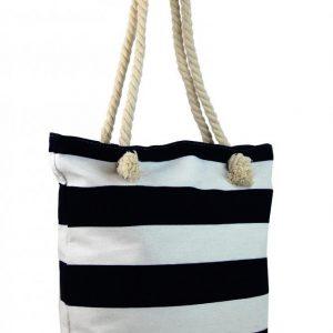 Čierno-biela ľahká plážová taška cez rameno