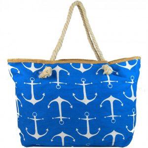 Veľká modrá ľahká plážová taška cez rameno
