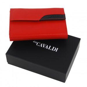 Červená dámska kožená peňaženka v krabičke Cavaldi