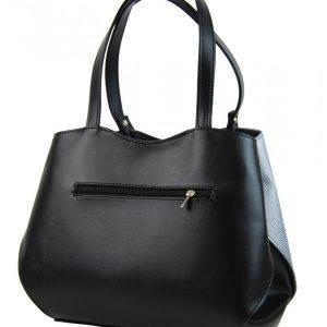 Čierno-strieborná elegantná dámska kabelka cez rameno S614 GROSSO