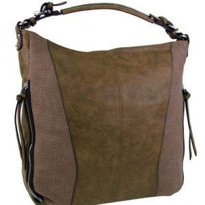 Moderná veľká hnedá dámska kombinovaná kabelka