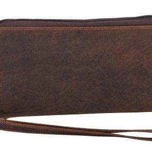 Kožená etue taška tmavohnedá hunter