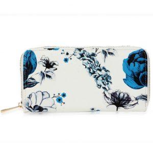 Peňaženka Flower-Biela/Modrá
