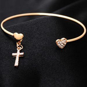 Náramok Heart Cross – Zlatá KP1767