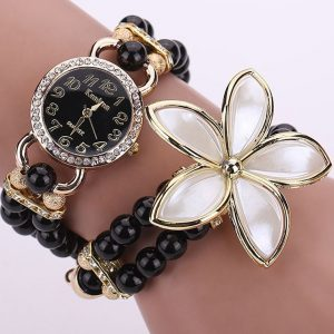 Hodinky Pearl Flower – Čierna KP1245