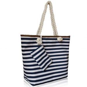 Plážová kabelka, taška Biela/Modrá