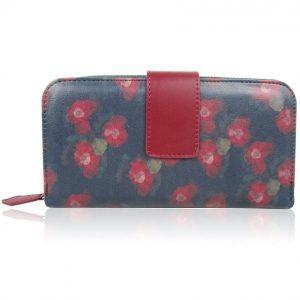Peňaženka Pink Flower-Modrá/Bordová