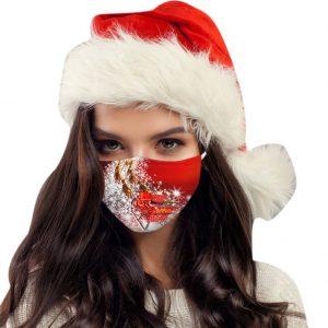 1x Vianočné jednorázové Rúško-Santa na saniach KP6674