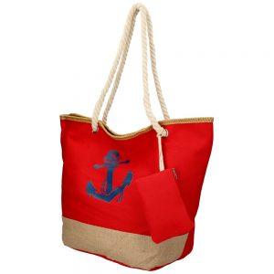 Veľká červená plážová taška s kotvou cez rameno