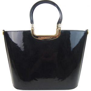 Luxusná kabelka čierna lakovaná S7 zlaté kovanie GROSSO