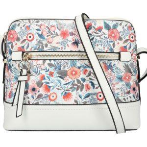 Biela dámska crossbody kabelka s potlačou kvetín