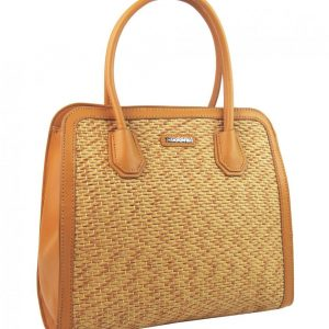 Okrovo žltá dámska kabelka do ruky v prepletanom štýlu 4490-TS