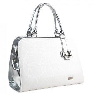 Bielo-strieborná elegantná dámska kabelka