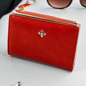 Červená hladká menšia dámska peňaženka v darčekovej krabičke MILANO DESIGN
