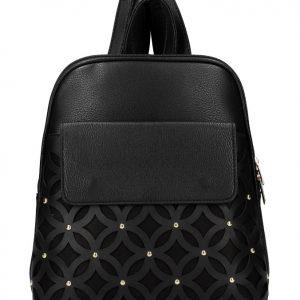 Čierny dámsky módny batôžtek v perforovanom dizajne AM0109