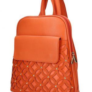 Oranžový dámsky módny batôžtek v perforovanom dizajne AM0109