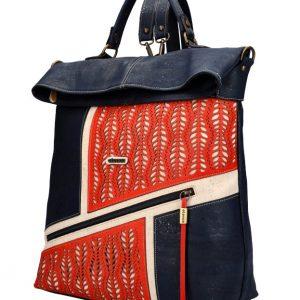 ELENCO Prestížny korkový dámsky ruksak tmavo modrý