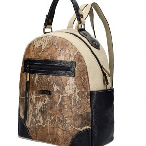 ELENCO Luxusný dámsky batoh z pravej kože modro-šedý