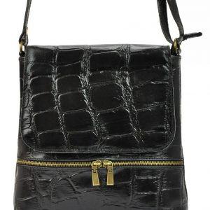 Kožená dámska crossbody kabelka v kroko dizajne čierna