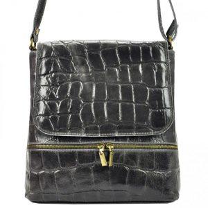 Kožená dámska crossbody kabelka v kroko dizajne tmavo sivá