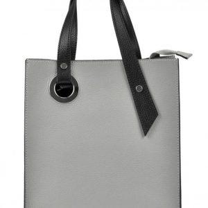 Kožená stredne sivá obdĺžniková dámska kabelka do ruky