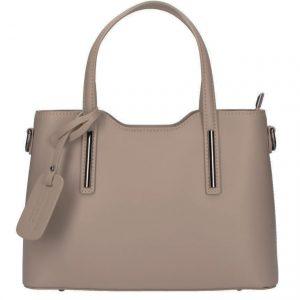 Kožená šedohnedá dámska kabelka do ruky Maila