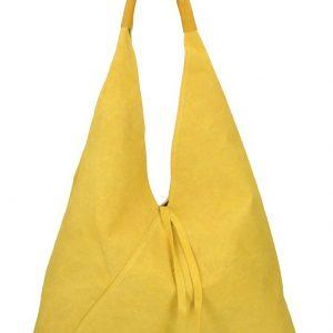 Kožená veľká dámska kabelka Alma žltá