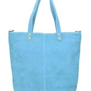 Kožená veľká svetlo modrá brúsená praktická dámska kabelka