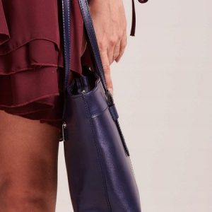 Kožená dámska kabelka cez rameno modrá