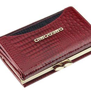 Gregorio červená menšia dámska kožená peňaženka RFID v darčekovej krabičke