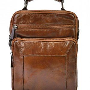 GIORGIO Kožená hnedá pánska taška 18x24x10 cm